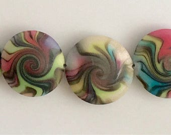 Polymer Clay Lentil Bead Set #L-16