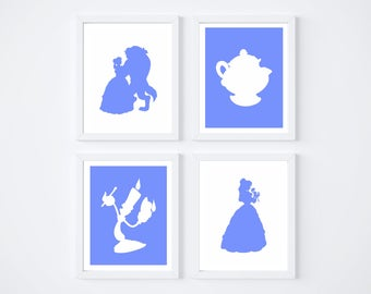 Disney Beauty and the Beast wall art for baby, kids room solid prints *digital download*  8x10 pop nursery silhouette wall art