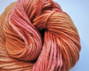 Coral.  Handpainted Yarn 3 ply Aran Weight