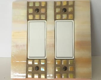 Yellow Light Switch Cover, Iridescent Stained Glass, Decorative Switch Plate, Double Decora Rocker Switchplate, Mosaic Stained Glass, 8860