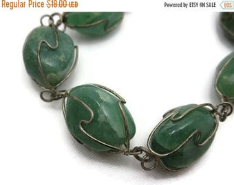 OnSale Jade Bracelet - Wire Wrapped Gemstone, Caged Stones