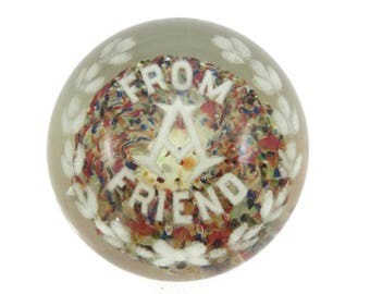 Art Glass Paperweight - From a Friend Hand Blown Controlled Bubble