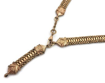 Victorian Watch Chain Necklace - Gold Fill Mesh