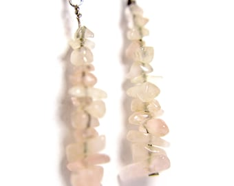 Rose quartz gemstone chip dangle earrings on silver ear hooks - wire wrapped - pink translucent semi-precious stone