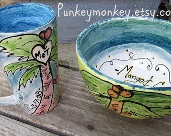 Personalized custom mug and bowl Set personalized ice cream bowl popcorn bowl custom bowl custom cereal bowl coffee mug custom dinnerware