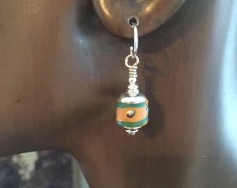 African Trade Bead Earrings Yellow Ochre and Green Glass and Sterling Silver