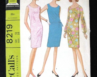 1966 McCalls sewing pattern 8219  Misses Dress in 2 versions easy to sew pattern size 12 bust 32