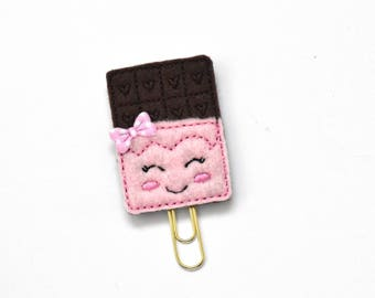 Kawaii Chocolate Bar Felt Planner Clip / Bookmark