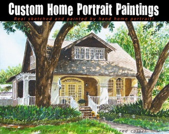 Home Portrait - Watercolor Painting From Your Photo - Sketched and Painted By Hand - Not Digital Computer Coloring - Free Shipping