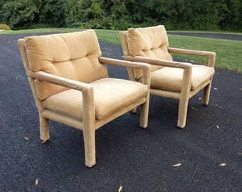 2 MILO BAUGHMAN for directional mid century modern parsons chairs