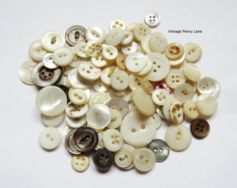 Antique / Vintage Buttons, Mother of Pearl Shell, Lot of 100