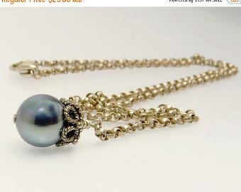 Sterling Silver Gray Pearl Drop Y Necklace