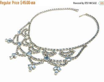 Vintage Aqua Blue Rhinestone Bib Necklace