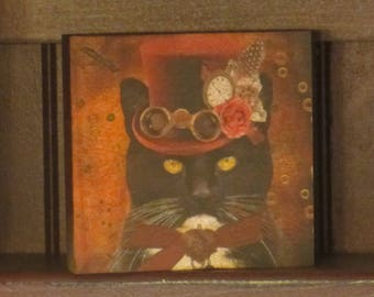 Wood Plaque Steam Punk Black/White Cat W/Hat Decorated and Glasses