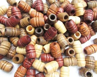 Large Turned Wood Shaped Barrel Beads, 100 + Beads Lot, Large Hole Beads, Woodworking Use, Jewelry, Macrame, Connectors, Chunky Beads