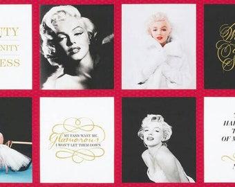 Marilyn Monroe Portraits Quotes Kaufman Fabric Panel