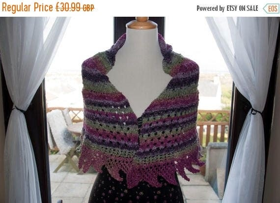 Christmas In July Handknitted Shawl/Shawlette in Glittery/Sparkly Shades of Purple and Green