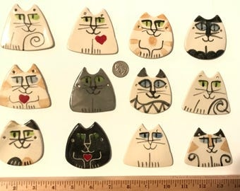 12 mixed designs Cat lover Party Favor ornament pendant  HM feline whimsical design  glazed  grab bag gift collection