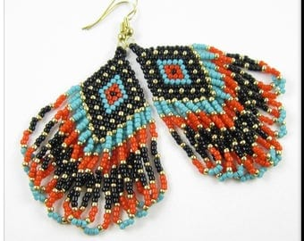 Native American Style Beadwork Fringe Seed Bead Earrings Dangle Chandelier in Turquoise, Red, Black and Gold