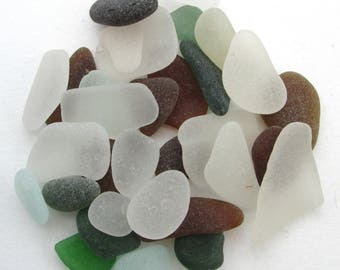 English beach glass, Cornish sea glass, Surf tumbled glass, eco craft supply, jewelry making supplies, 30 frosted pieces, UK collector