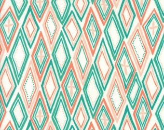 Midnight Garden Fabric // White with Teal Diamonds Quilting Fabric  // 1canoe2 // cotton quilting