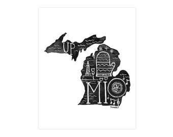 Michigan State Print // 1canoe2 // Modern Art Print