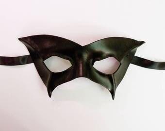 Black Leather Mask basic Superhero costume masquerade average adult size very light and comfy