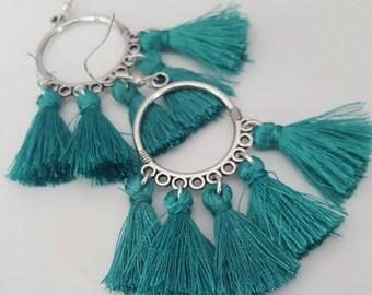 Teal tassel earrings | silver tassel earrings | tassel hoop earrings tassel | boho jewelry | statement earrings | fringe earrings | canada