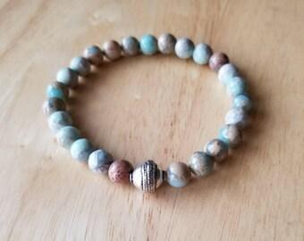 Stone bracelet men, boho jewelry, mala beads bracelet, jasper bracelet, stacking bracelet, husband gift, gift dad, healing bracelet
