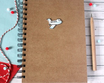 Travel Journal. Travel Notebook. Airplane A5 Travel Notebook. Lined Notebook. Travel Journal. Spiral Bound. Blank Notebook. Travel Notebook.