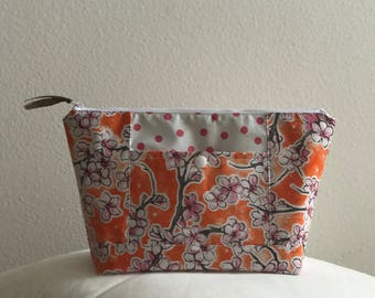 Beth's Orange and Pink Blossom Oilcloth Cosmetic Bag with Exterior Pocket