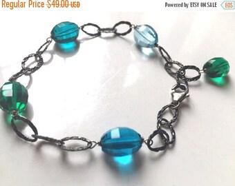 20% off FLASH SALE, Colorful bracelet, Stepping Up Step Cut Quartz Bracelet, Blue and Green, Adjustable, oxidized or regular sterling