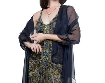 Promo Sale: Navy Evening  Silk Chiffon Stole/ Wrap/ Shawl with semi-sleeves