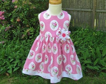Baby girl sundress, size 12Mo, Pink shabby roses, Ready to ship, summer dress, party dress, birthday gift, Fabric flower, Handmade, OOAK