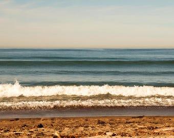 ocean wave art, beach photography, coastal decor, nautical print, brown decor, beach waves photo, bathroom print, calming art, earth tones