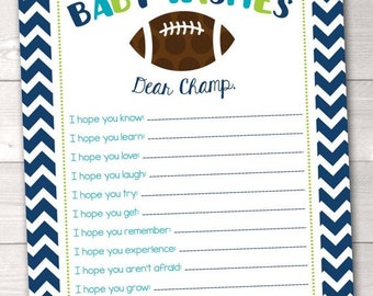 35% OFF SALE Printable Baby Wishes Card Boys Football Baby Shower Game Design Instant Download PDF