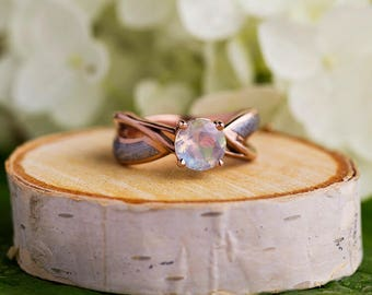 Moonstone Engagement Ring, Gibeon Meteorite Ring in 14k Rose Gold, Custom Gemstone Ring