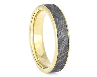 Golden Meteorite Wedding Band, Unisex Ring With 14k Yellow Gold, Handmade Gold And Meteorite Jewelry