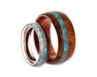Amboyna Wood Wedding Band Set, Turquoise Rings With Deer Antler, Matching Rings, Handmade Ring Set