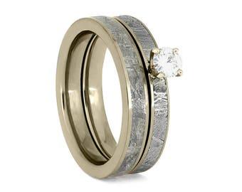 White Gold Bridal Set With Meteorite Inlays, Diamond Engagement Ring