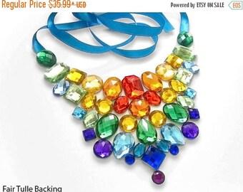 ON SALE Bright Rainbow Rhinestone Statement Necklace, Rainbow Bib Necklace, Colorful Rhinestone Bib Necklace, Rainbow Pride Necklace