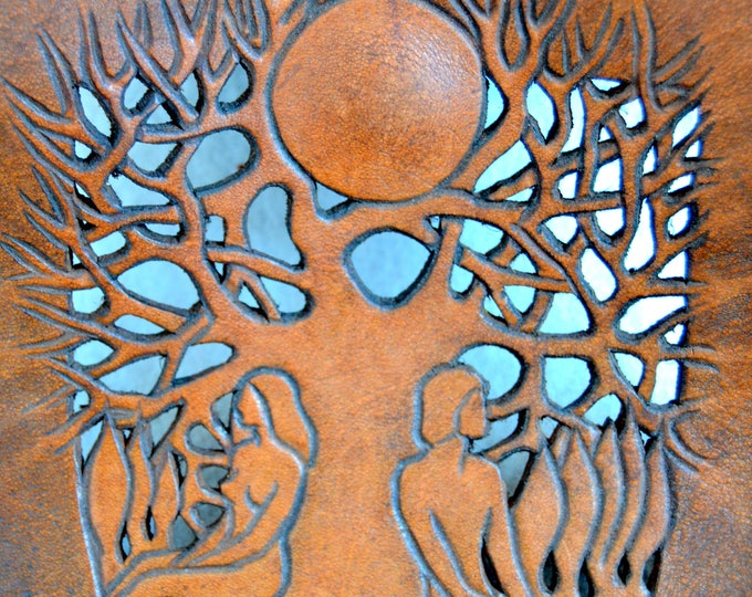 Romantic Hand Tooled ORIGINAL TREE of LIFE Leather Bag from the 1970's.