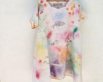Multicolored, Sprayed,handpainted, Pure Linen, Tunic, Loose Mini Dress, Summer, festival, Fish print rubberstamp print, Resplendent rags