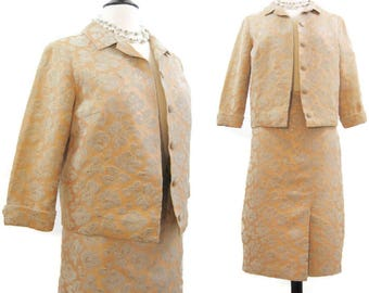 Vintage 60s Suit Brocade Copper Grey Jacket and Skirt Cocktail Wedding M