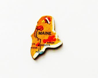 1961 Maine Brooch - Pin / Unique Wearable History Gift Idea / Upcycled Vintage Wood Jewelry / Timeless Gift Under 25