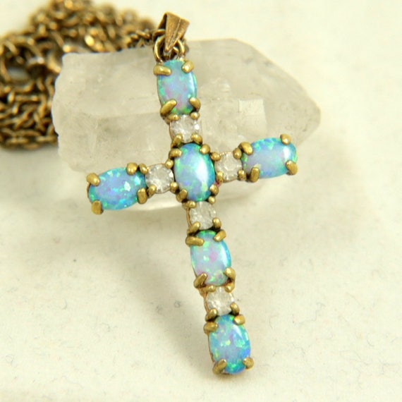 Vintage Art Deco Brass Faux Opal Cross Pendant Necklace