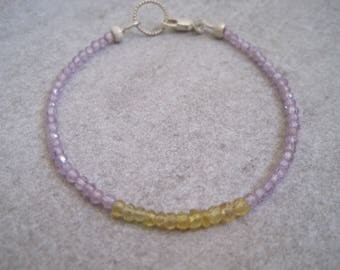 Pink Amethyst and Yellow Sapphire Stacking Bracelet