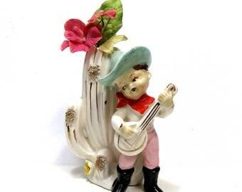 Singing Cowboy and Cactus Vintage Ceramic Vase/ Retro Country Western Kitsch/ Ries Japan
