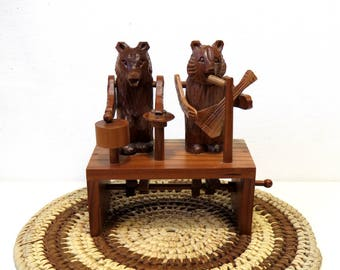 Carved Wood Bear Band/ Mechanical Toy Folk Art with Crank/ Music Theme