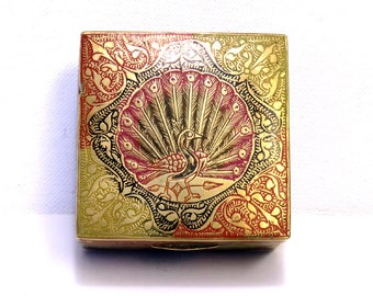 Etched Brass Peacock Cigarette Box/ Antique Wood Lined BoHo Trinket Box from India
